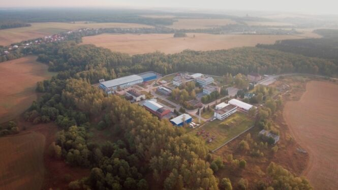 Аэриальный стоп кадр из имиджевого ролика для НПЦ Микромир